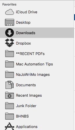Sidebar folders